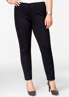 Alfani Plus Size Snake-Printed Ponte-Knit Slim Pants, Only at Macy's