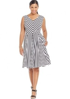 Alfani Plus Size Striped A-Line Dress