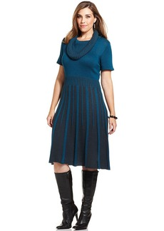 Alfani Plus Size Striped Cowl-Neck Sweater Dress