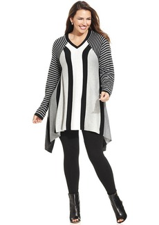 Alfani Plus Size Striped Handkerchief-Hem Sweater