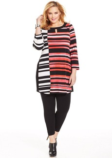 Alfani Plus Size Striped Keyhole Tunic