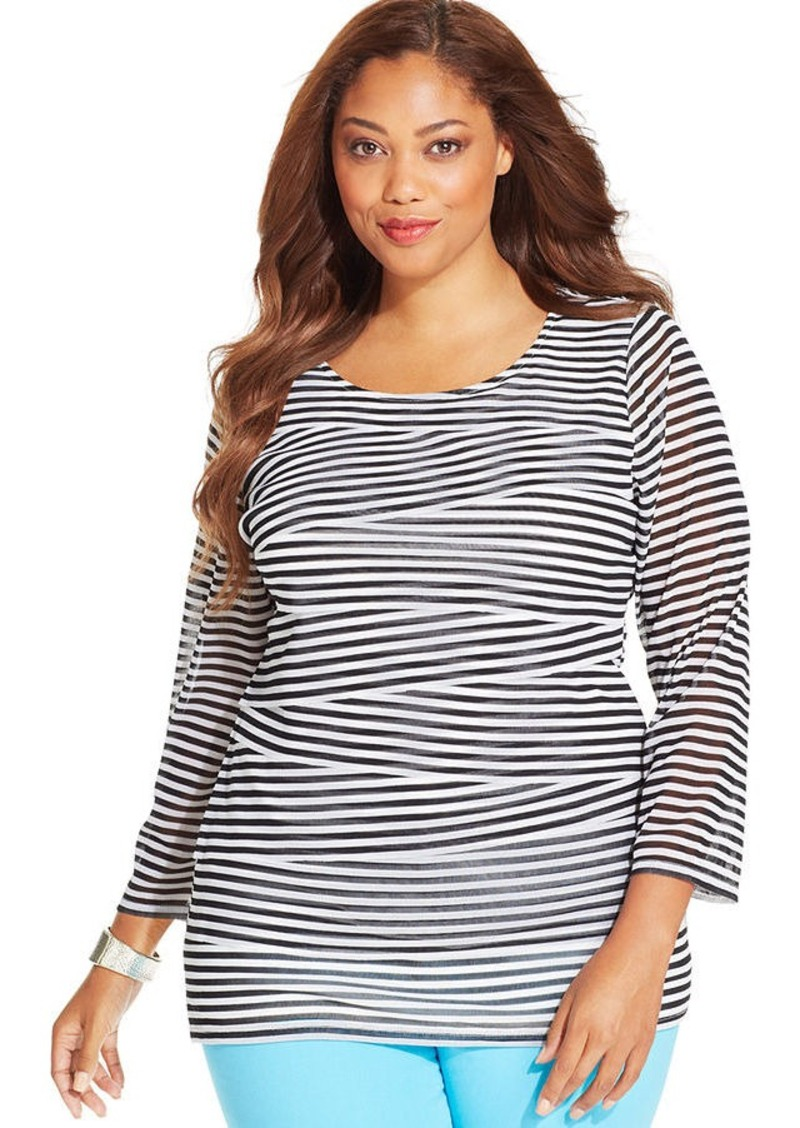 Alfani Plus Size Striped Tiered Top