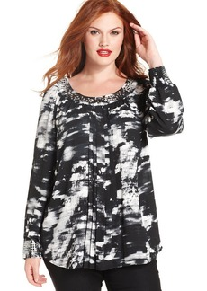 Alfani Plus Size Stud-Panel Printed Blouse