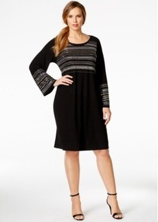 Alfani Plus Size Studded Bell-Sleeve Shift Dress, Only at Macy's