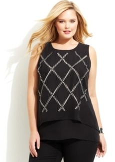 Alfani Plus Size Studded Layered Top