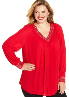 Alfani Plus Size Studded Pintucked Blouse