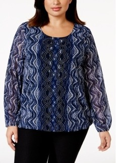Alfani Plus Size Studded Printed Blouson Top, Only at Macy's