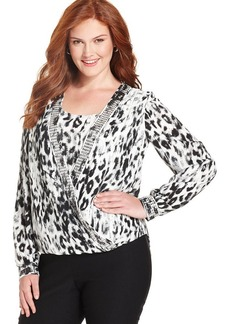 Alfani Plus Size Surplice-Front Printed Top
