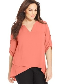 Alfani Plus Size Tab-Sleeve High-Low Layered Top