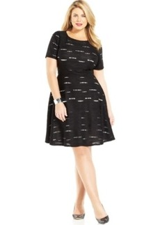 Alfani Plus Size Textured Eyelet Flare Dress