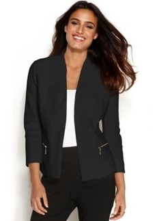 Alfani Plus Size Textured Zip-Pocket Blazer