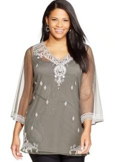 Alfani Plus Size Three-Quarter-Sleeve Embroidered Top
