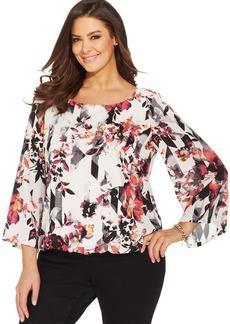 Alfani Plus Size Three-Quarter-Sleeve Floral-Print Blouson Top