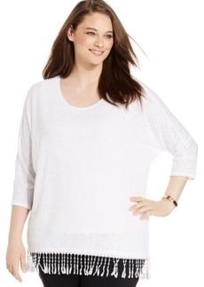 Alfani Plus Size Three-Quarter-Sleeve Fringe-Hem Top