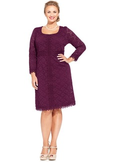 Alfani Plus Size Three-Quarter-Sleeve Lace Dress