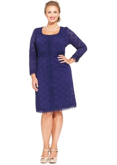 Alfani Plus Size Three-Quarter-Sleeve Lace-Overlay Dress