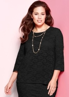 Alfani Plus Size Three-Quarter-Sleeve Lace Top