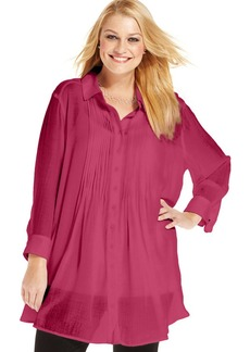 Alfani Plus Size Three-Quarter-Sleeve Pintucked Blouse