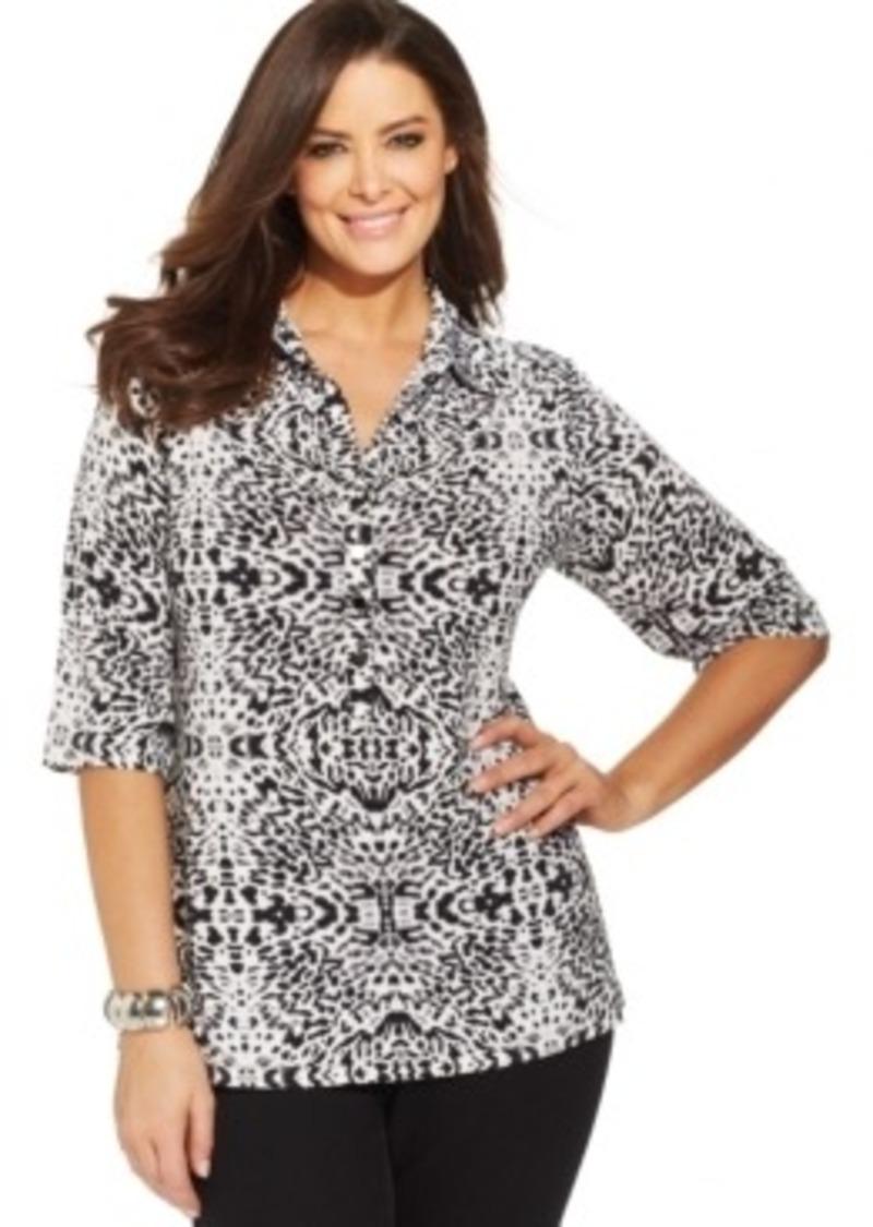 Alfani alfani plus size three quarter sleeve printed polo for Three quarter length shirt
