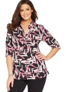 Alfani Plus Size Three-Quarter-Sleeve Printed Polo Shirt