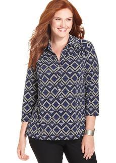 Alfani Plus Size Three-Quarter-Sleeve Printed Polo Shirt