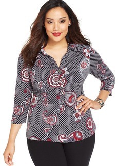 Alfani Plus Size Three-Quarter-Sleeve Printed Shirt