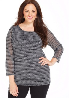 Alfani Plus Size Three-Quarter-Sleeve Printed Tiered Top