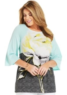 Alfani Plus Size Three-Quarter-Sleeve Printed Tunic