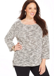Alfani Plus Size Three-Quarter-Sleeve Scoop-Neck Sweater