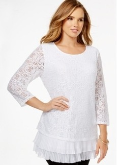 Alfani Plus Size Tiered Flounce-Hem Lace Top, Only at Macy's
