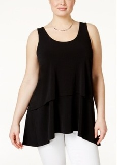 Alfani Plus Size Tiered-Overlay Tank Top, Only at Macy's
