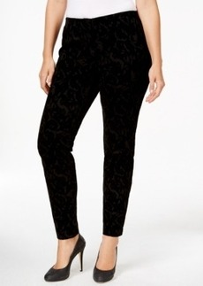 Alfani Plus Size Tonal Burnout Velour Slim Pants, Only at Macy's