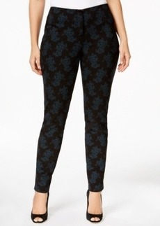 Alfani Plus Size Tonal-Printed Slim Pants, Only at Macy's