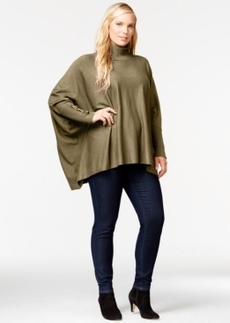 Alfani Plus Size Turtleneck Poncho, Only at Macy's