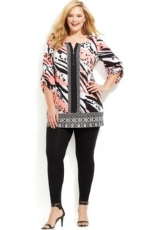 Alfani Plus Size Zip-Front Mixed-Print Tunic