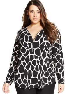 Alfani Plus Size Zip-Front Printed Tunic