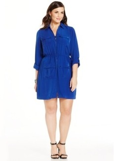 Alfani Plus Size Zip-Front Utility Shirtdress