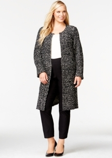 Alfani Plus Size Zip-Off Convertible Collarless Coat, Only at Macy's