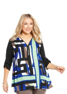Alfani Plus Size Zippered Geo-Print Tunic