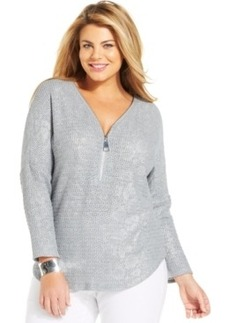 Alfani Plus Size Zippered Metallic Tunic
