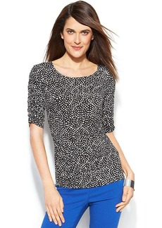 Alfani Petite Polka-Dot-Print Ruched Top