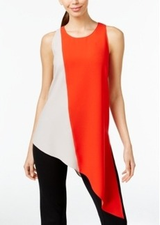 Alfani Prima Asymmetrical Colorblocked Blouse, Only at Macy's