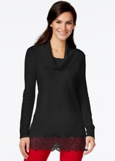 Alfani Prima Cowl-Neck Lace-Hem Sweater, Only at Macy's