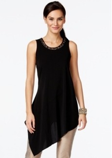 Alfani Prima Embellished Asymmetrical-Hem Top, Only at Macy's