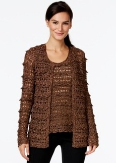 Alfani Prima Lurex Crochet Cardigan Sweater, Only at Macy's