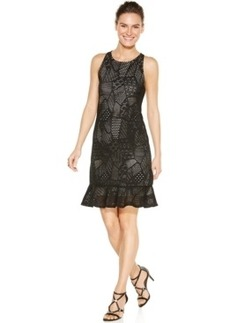 Alfani Prima Patchwork Lace-Overlay Ruffled Sheath Dress