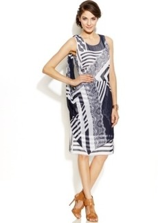 Alfani Prima Printed Draped-Overlay Shift Dress