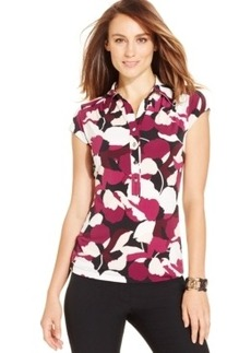 Alfani Printed Cap-Sleeve Polo Top, Only at Macy's