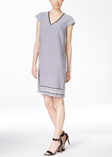 Alfani Printed Contrast-Trim Cap-Sleeve Dress, Only at Macy's