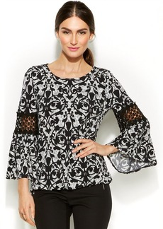 Alfani Printed Crochet-Panel Blouson Top